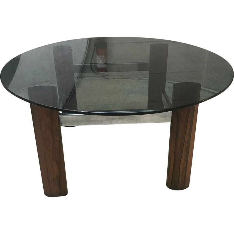 Vintage teak and glass coffee table, 1970s
