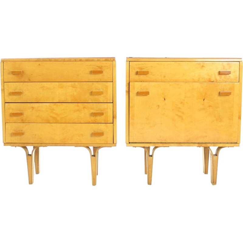 Set of 2 vintage bedside tables with glass top, Czechoslovakia 1960s