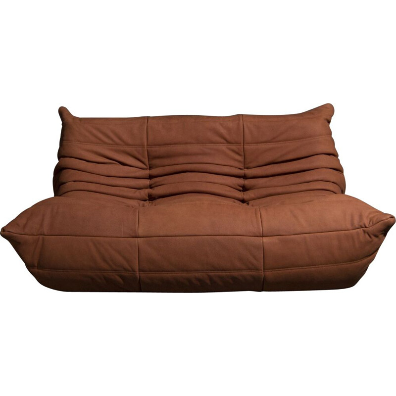 Vintage Togo 2 seater sofa in cognac leather by Michel Ducaroy from Ligne Roset