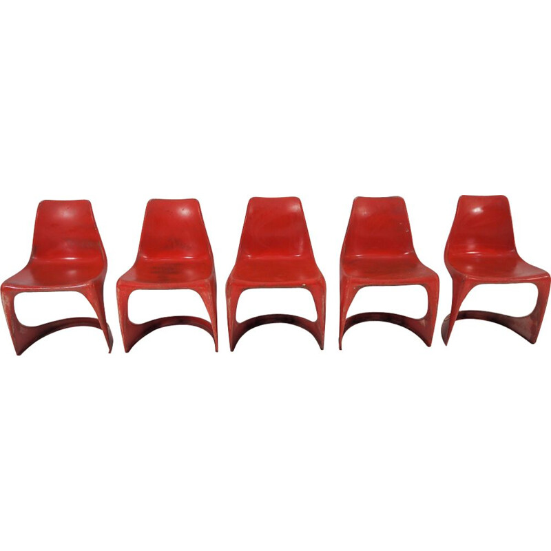 Set of 5 vintage dining chairs by Steen Ostergaard for Cado, 1970s