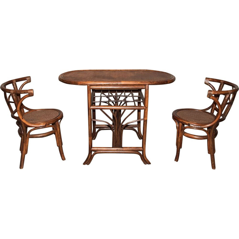 Vintage bamboo and rattan dining set, 1970s