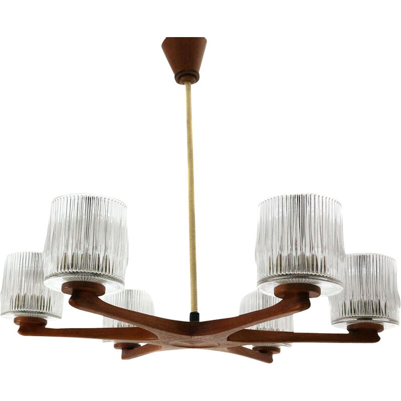 Vintage teak and glass chandelier, Germany, 1960s