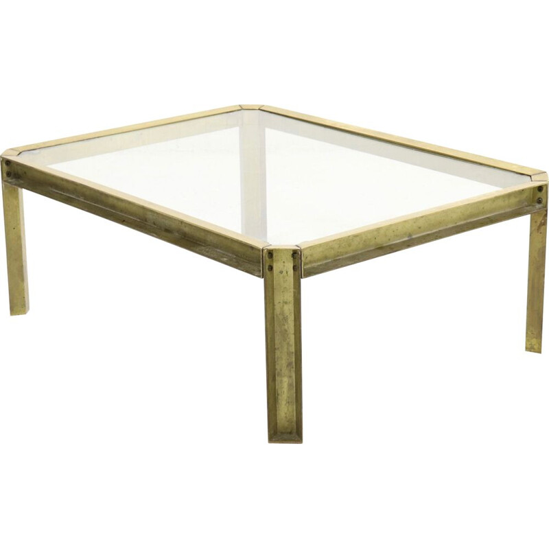 Vintage brass T09 coffee table by Peter Ghyczy, 1970s