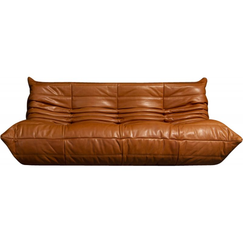 Vintage Togo 3 seater sofa in cognac leather,  by Michel Ducaroy from Ligne Roset