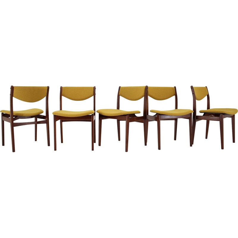 Set of 6 vintage teak dining chairs, Denmark, 1960s