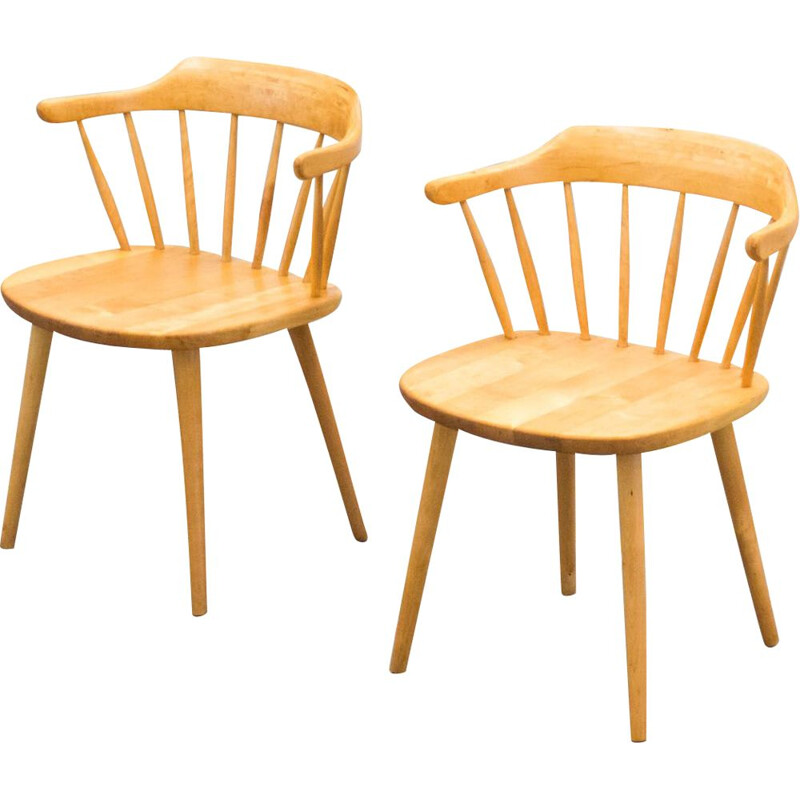 "Vintage stolab pair of birch ""Smaland"" arm chairs by Yngve Ekström 1960"
