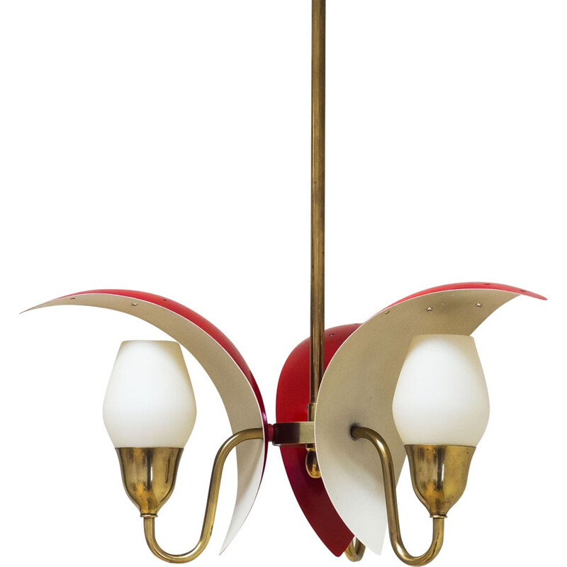 Vintage Fog & Mørup red crenscent chandelier 1940
