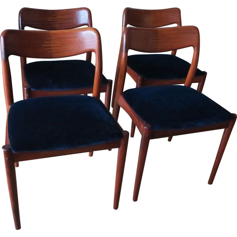Set of 4 vintage Danish rosewood chairs with inlaid backs, 1960