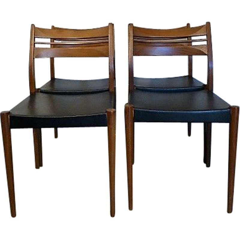 Set of vintage 4 Scandinavian chairs in blond teak, 1960