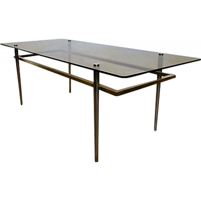 Vintage Brass Coffee Table And Smoked Glass 1960s Design Market