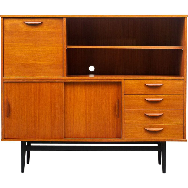 Teak scandinavian vintage highboard, 1960s