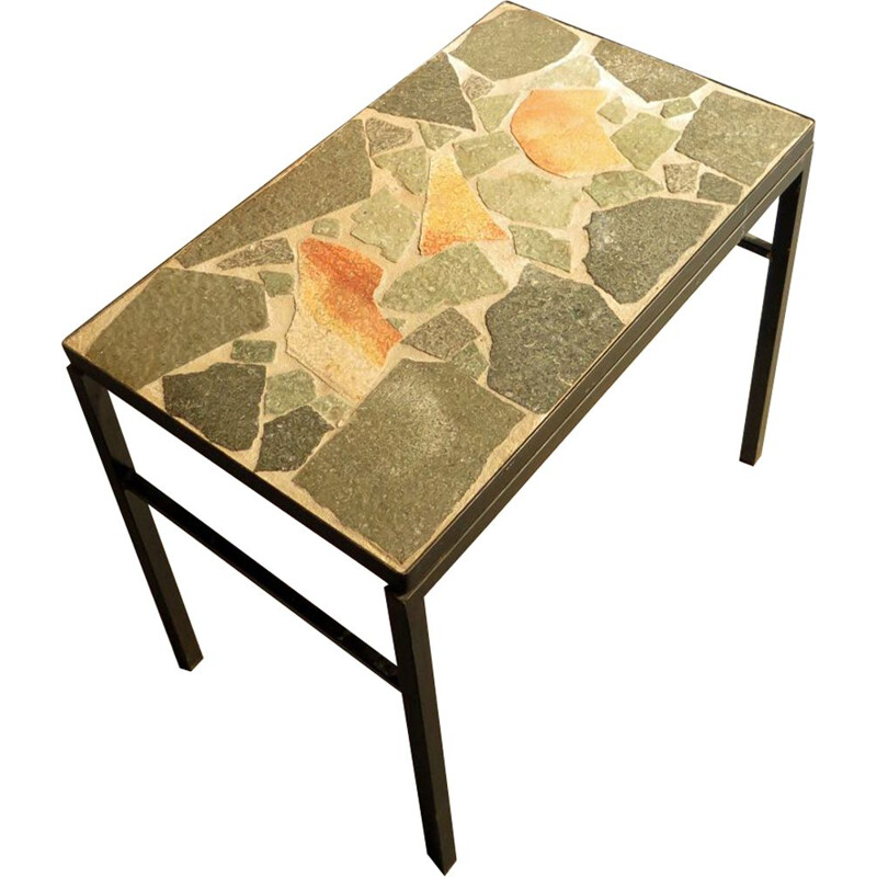 German vintage side table in stone and black metal 1970s