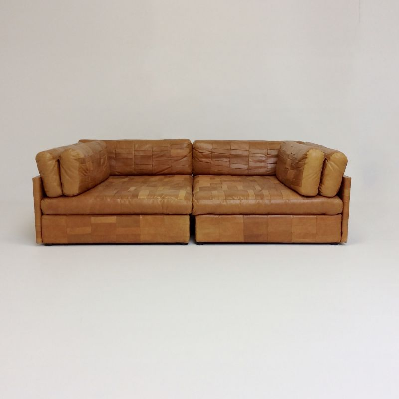 Vintage cognac leather sofa attributed to De Sede, 1970, Switzerland
