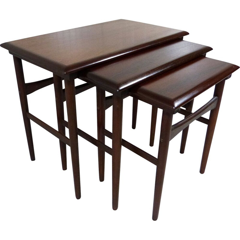 Rosewood vintage nesting side tables by Dyrlund, Denmark 1960s
