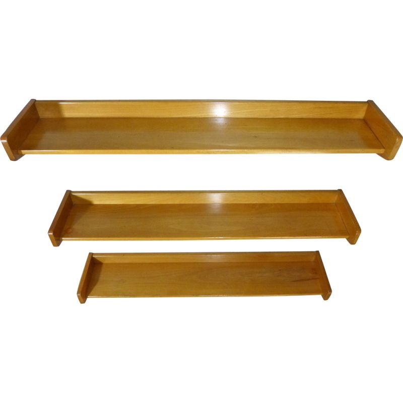 Set of 3 vintage solid vintage beechwood book-wall shelves, 1950
