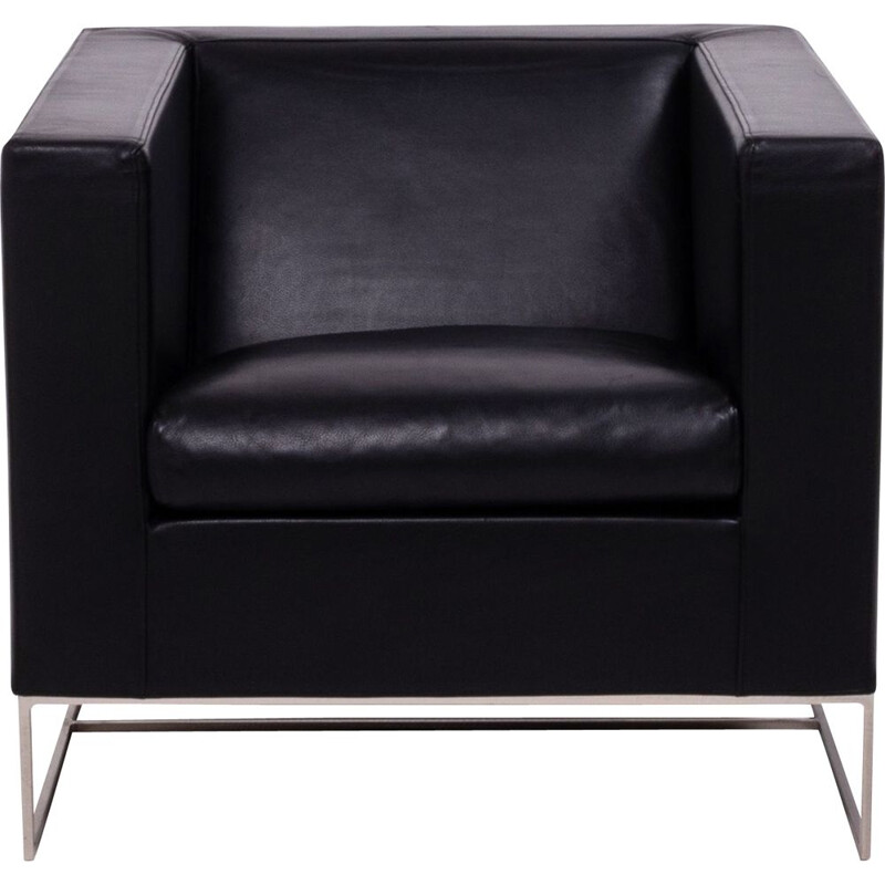 Vintage Klee black leather armchair by Rodolfo Dordoni for Minotti