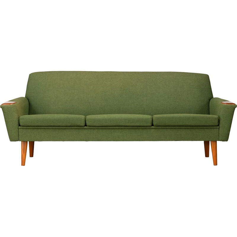 Vintage Danish green 3-seater sofa with teak, 1960s