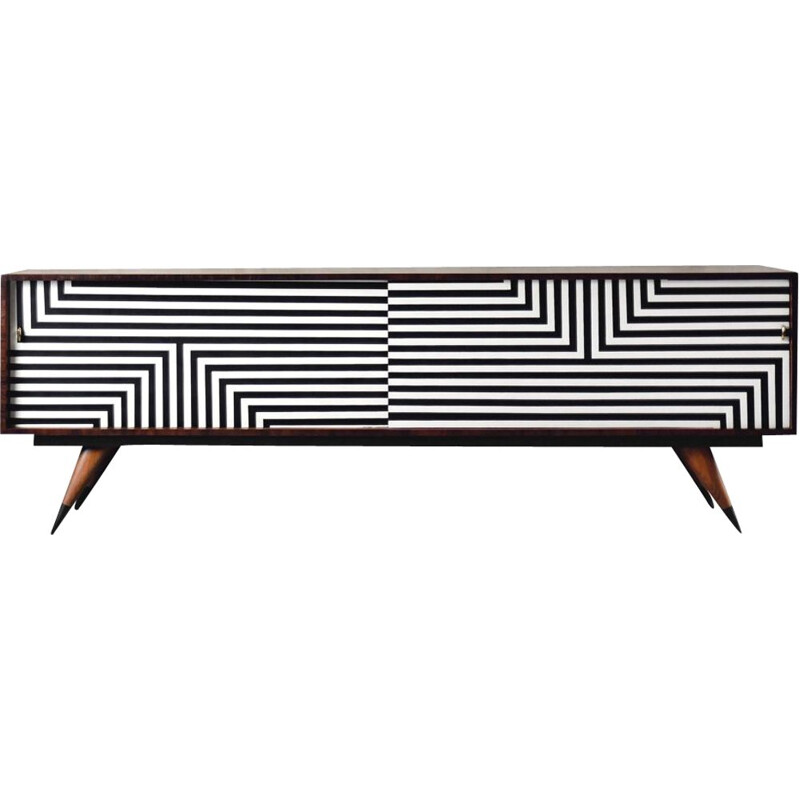 Vintage birch sideboard with hand-painted pattern, 1960s