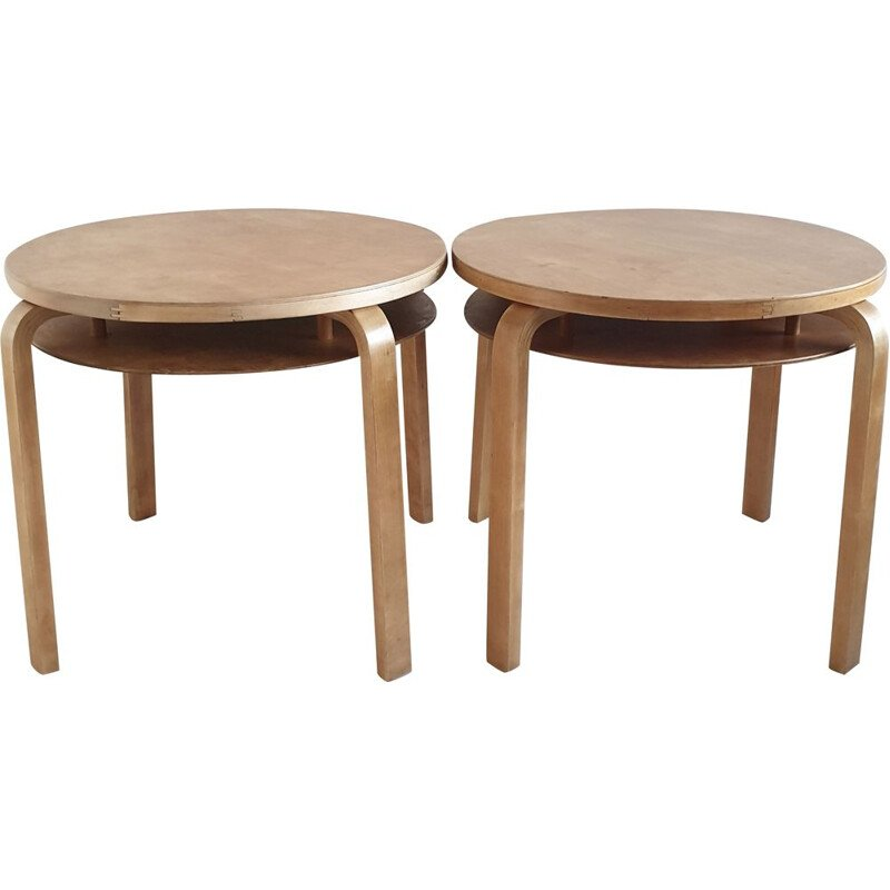 Pair of vintage 907 stacking side tables by Alvar Aalto for Artek, Distributed by Finmar, 1940