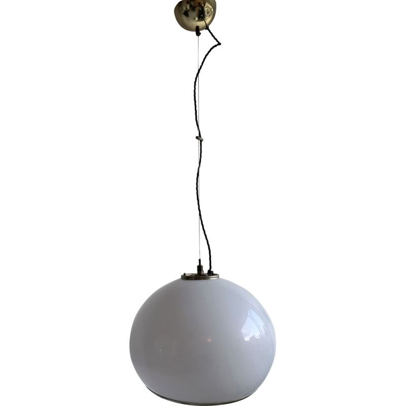 "Vintage plastic and brass ""Bud"" hanging lamp by Guzzini for Meblo, Slovenia, 1970"