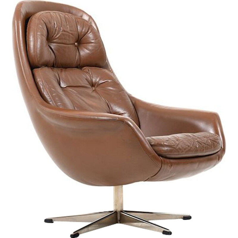 Danish vintage swivel armchair in brown leather, 1960s