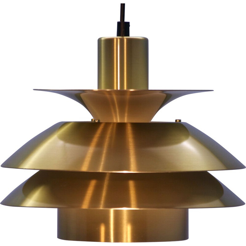 Danish vintage pendant light in brass, 1970s