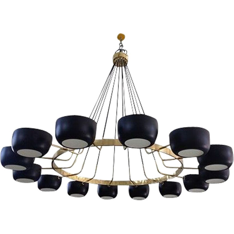 Large vintage chandelier with 14 cups, Italy, 1960s