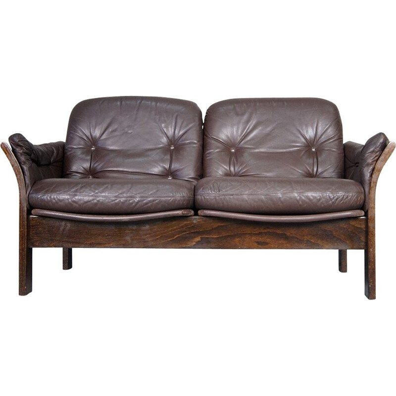 Leather vintage 2-seater sofa by Georg Thams for Vejen Polstermøbelfabrik, 1960s