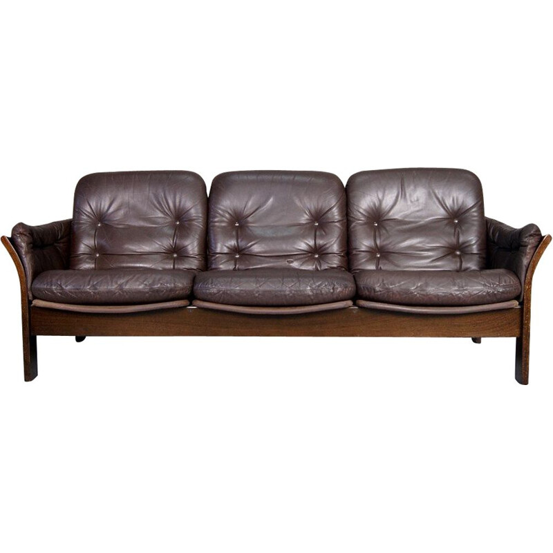 Leather vintage 3-seater sofa by Georg Thams for Vejen Polstermøbelfabrik, 1960s
