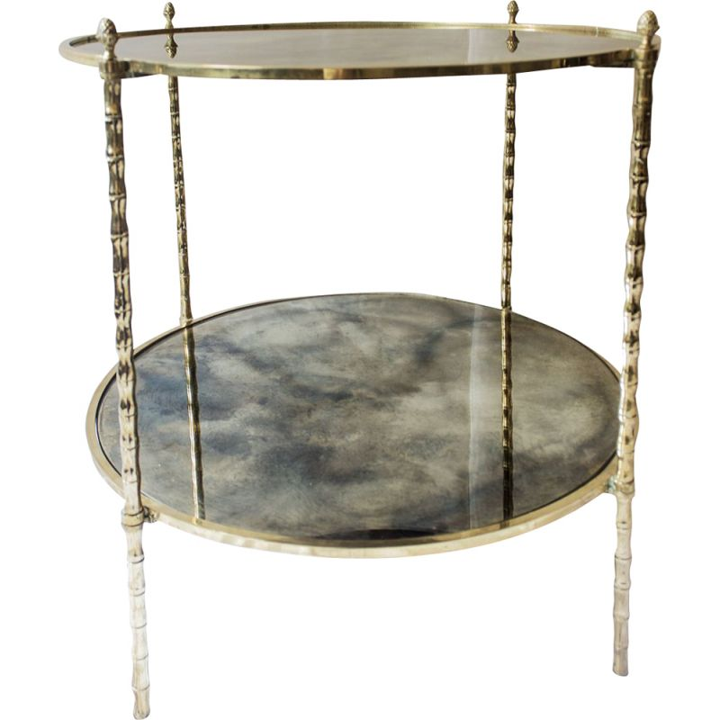 Vintage side table by Maison Baguès in glass and brass, 1960s