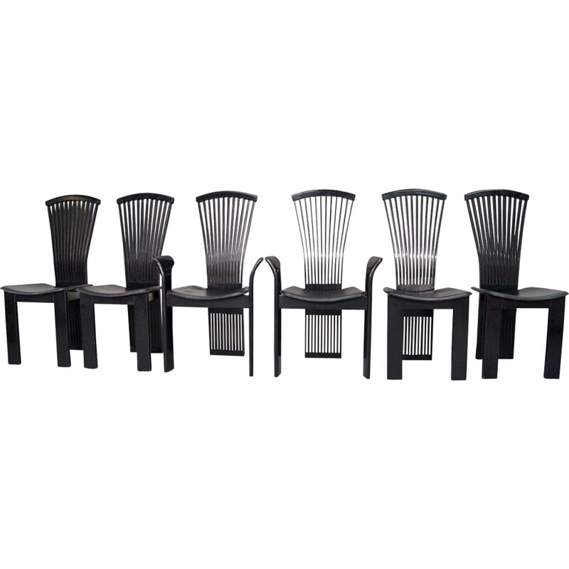 Set of 6 black vintage dining chairs by Pietro Constantini for Pietro Constantini, 1970s