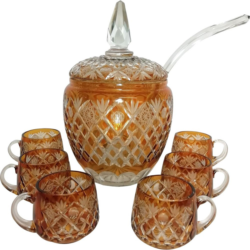 Bohemian crystal vintage punch set, 1970s
