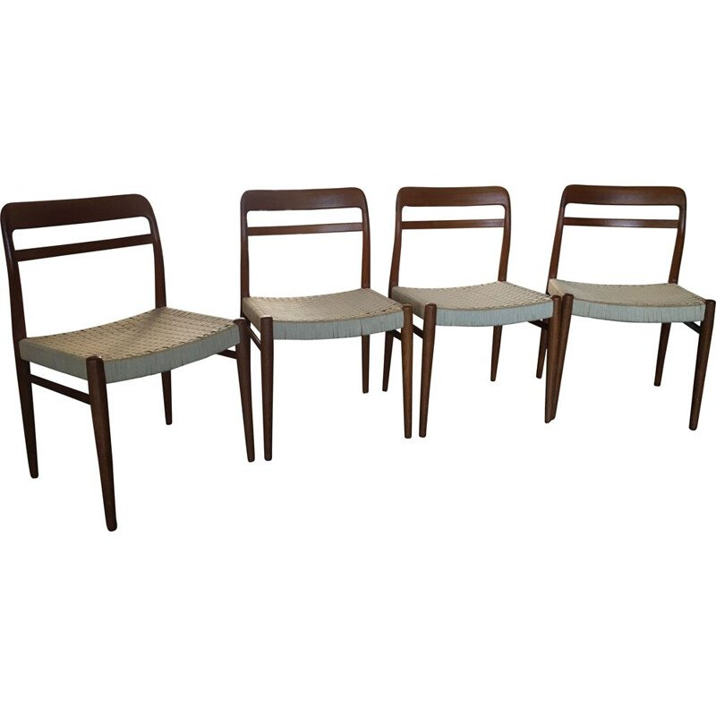 Set of 4 scandinavian teak vintage dining chairs by Gustav Bahus & Eft, 1960s