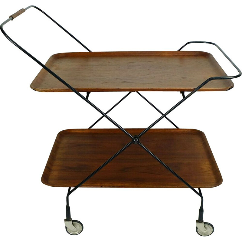 Teak vintage tea cart trolley by Jie Gantofta, Sweden, 1950s