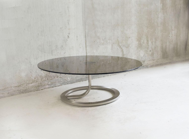 Natuzzi smoked glass and polished steel coffee table, Natuzzi ...