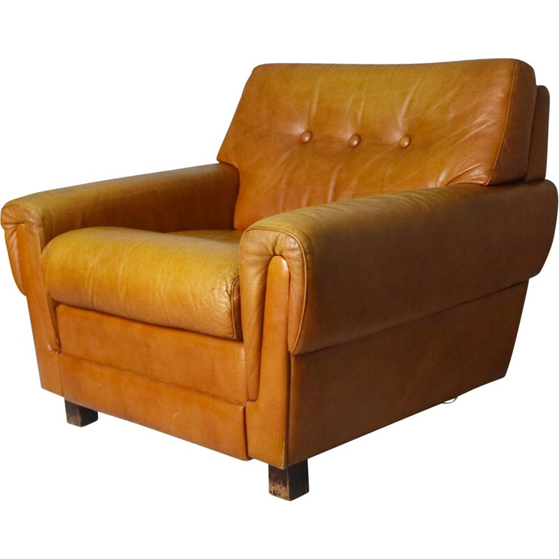 Danish leather vintage armchair, 1960s