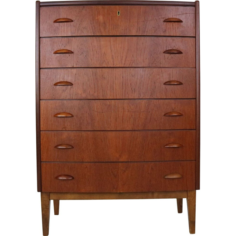 Vintage Danish Tallboy Chest of Six Drawers  in Teak, 1960