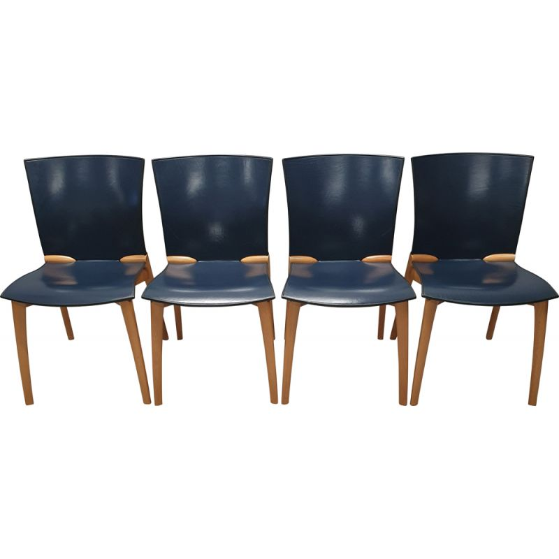 Vintage Set of 4 Dining chairs by Josep Llusca for Cassina, 1990