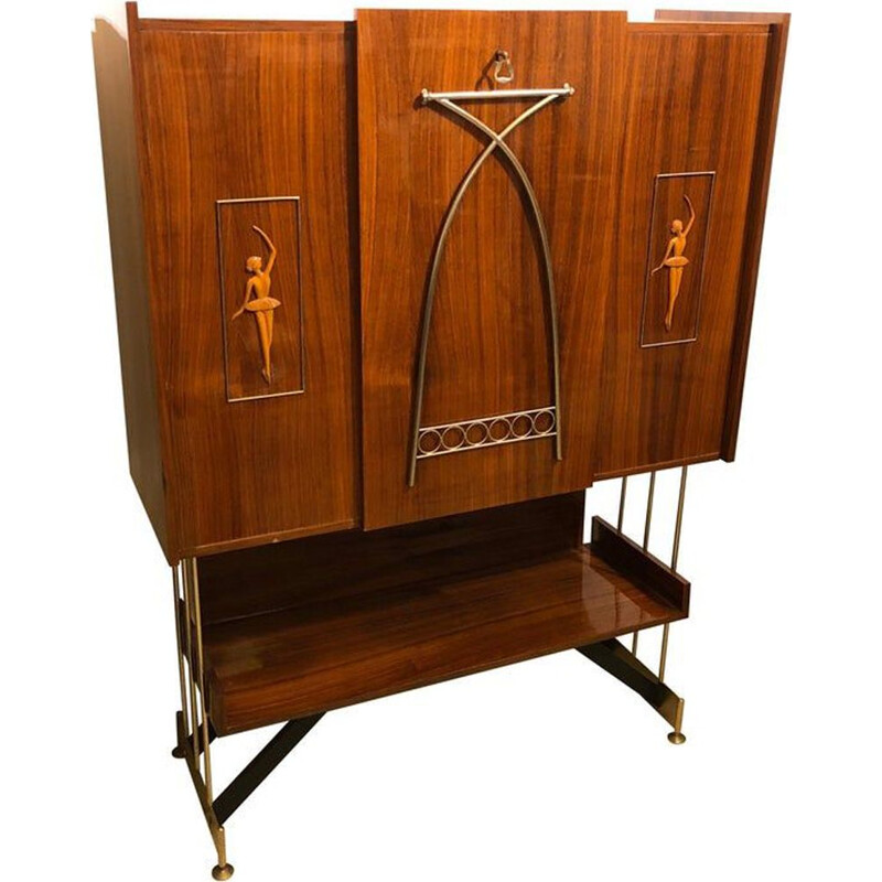 Vintage Rosewood Rio Italian Bar Furniture, 1950