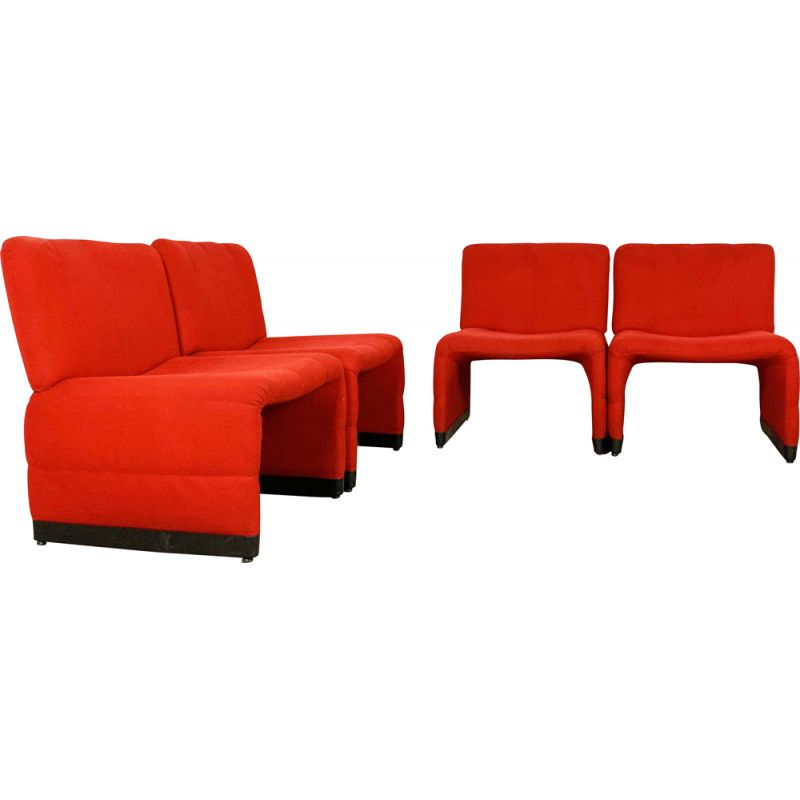 Vintage Set of 4 red lounge chairs, 1970s