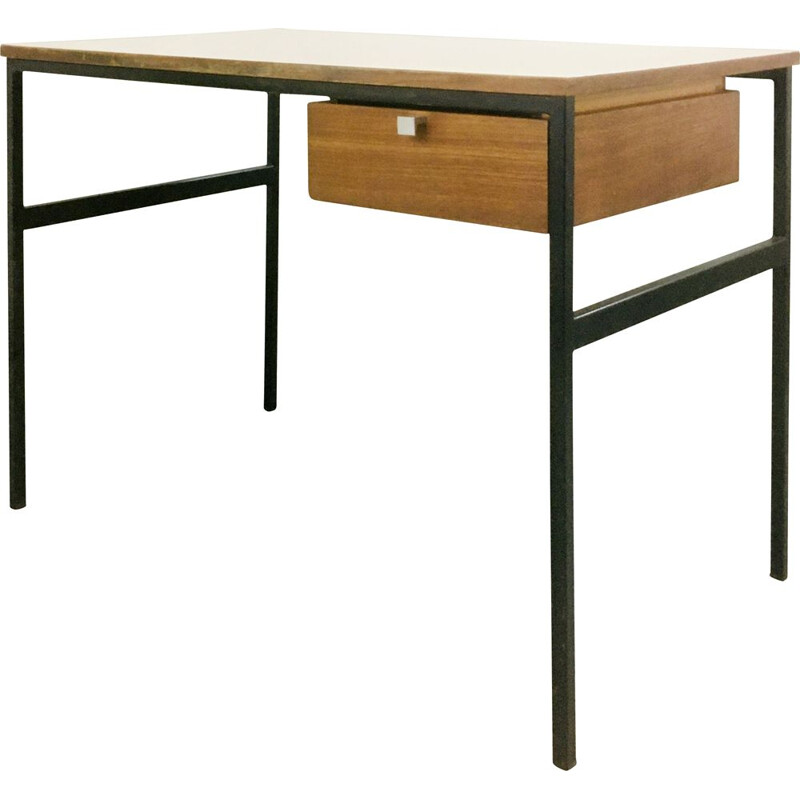 Vintage metal and wood desk by Pierre Paulin, Thonet edition, 1950