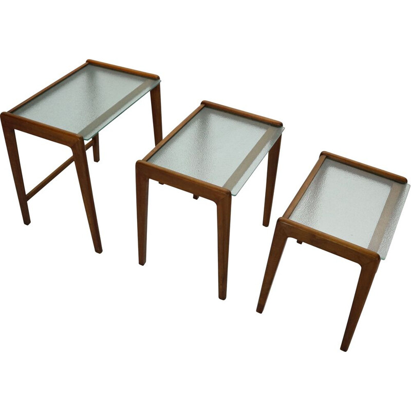 Vintage Scandinavian Walnut and Glass Nesting Tables, Denmark, 1960