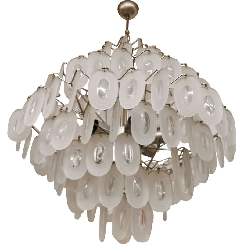 Vintage Large Chandelier in Structured Glass, italy  1960