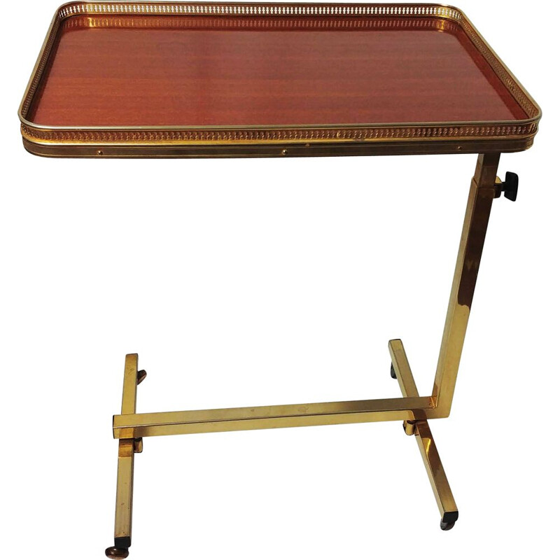Vintage folding rolling table in brass and rosewood, 1950