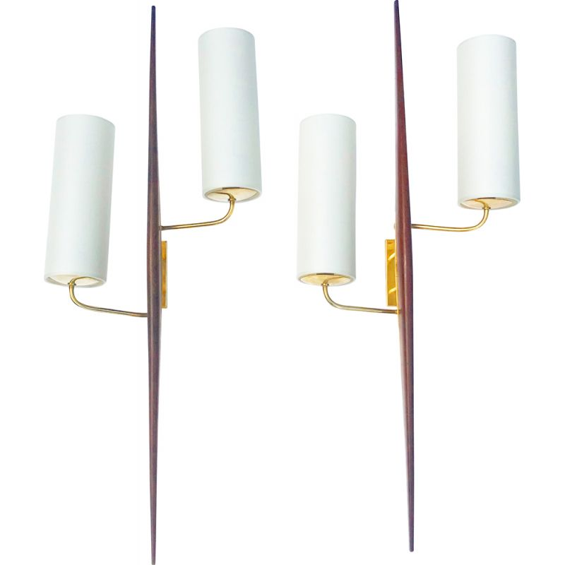 Pair of brass and teak wall lamp by Lunel, France 1960
