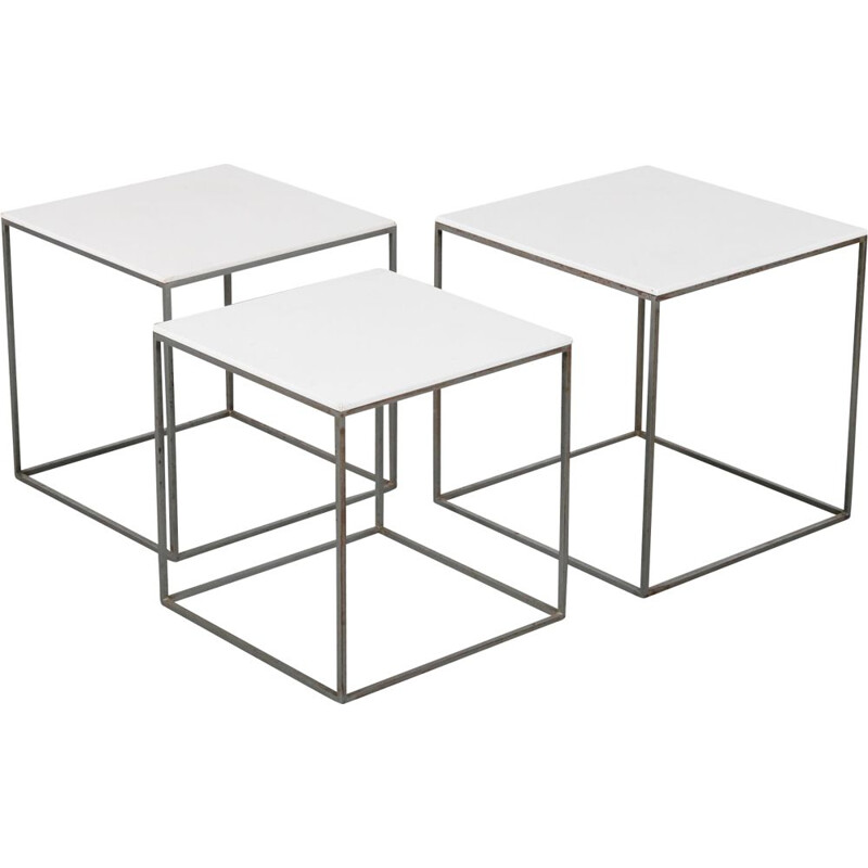 Vintage PK71 Nesting Tables,by Poul Kjaerholm for E. Kold Christensen, Denmark, 1960