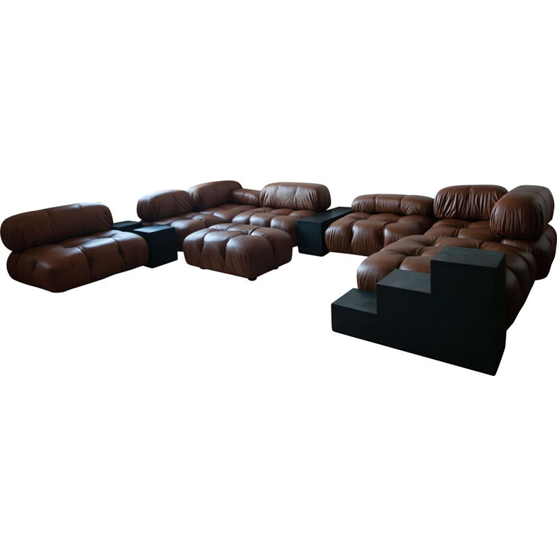 Vintage Camaleonda modular sofa system & 3 Gli Scacchi side tables by Mario Bellini
