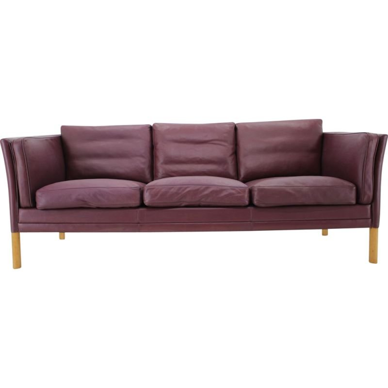 Vintage dark violet leather sofa, Denmark, 1960s