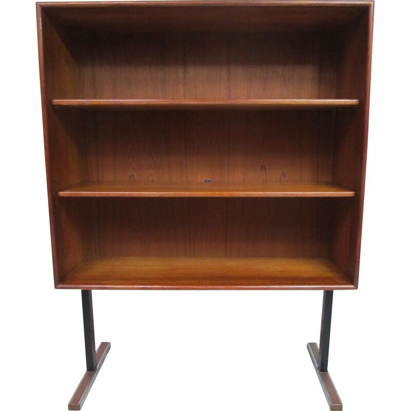 Vintage small teak and metal bookcase, 1970s