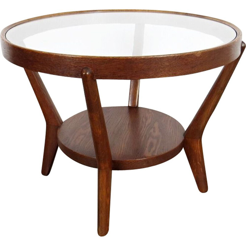 Vintage wooden coffee table by Kozelka, 1940s